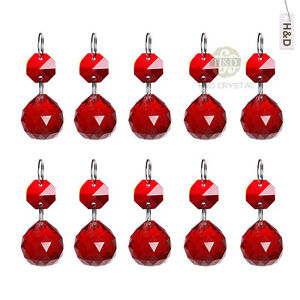 10 red glass hanging crystal ball prism feng shui chandelier drops image is loading 10 red glass hanging crystal ball prism feng mozeypictures Choice Image