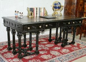 Antique Italian Neoclassical Revival Walnut Leather Top Partners Desk Circa 1880