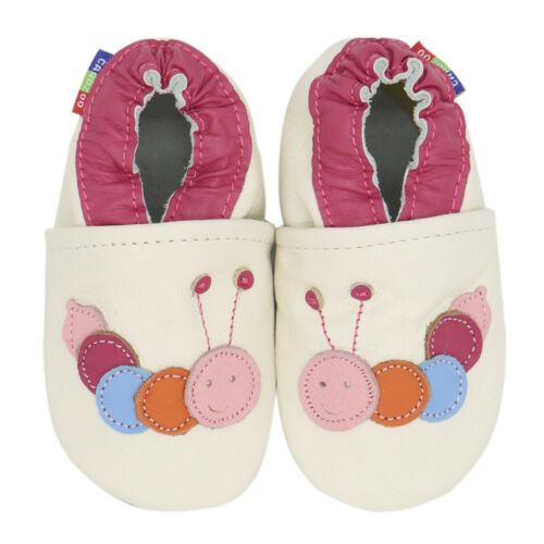 carozoo caterpillar cream 3-4y soft sole leather toddler shoes