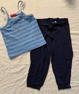 Pants-Justice Girl's Blue Cargo Pants Size 8 And Strap Shirt J. Khaki Kids 6