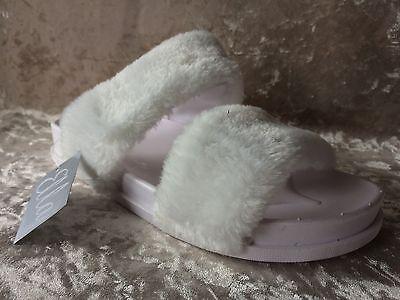 Para Mujer Niñas - - Julie-Piel Sintética-mulas -- Deslizadores-pisos-Blanco-tamaños UK 3 - 8