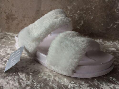 FLATS FAUX FUR-MULES- JULIE SLIDERS GIRLS UK SIZES 3-8 WOMENS WHITE