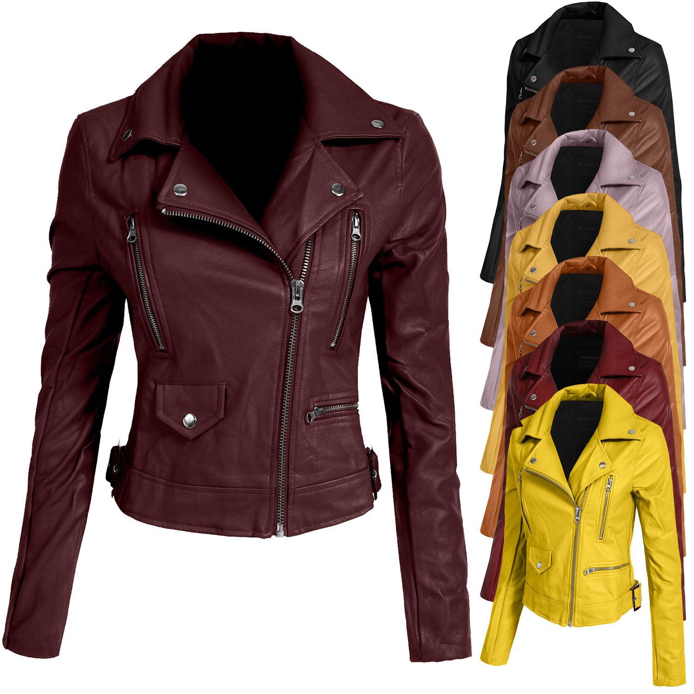 NE PEOPLE Women/'s Fitted Faux Leather Zip Up Moto Jacket NEWJ138