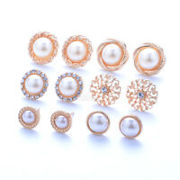 6 Pairs Elegant Flower Pearl Crystal Rhinestone Ear Stud Fashion Earrings Chain