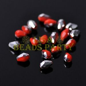 New-100pcs-5X3mm-Teardrop-Crystal-Glass-Spacer-Loose-Beads-Opaque-Red-amp-Silver