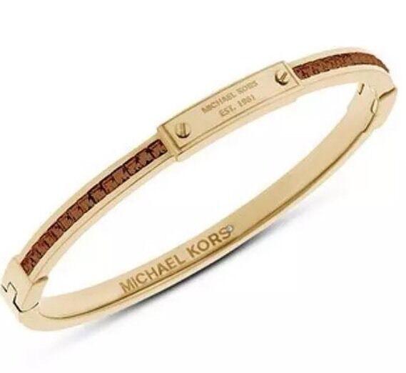 Michael Kors Brown Crystal Accented Gold Tone Bangle Bracelet Mkj4716 for  sale online  3dde8259e04c
