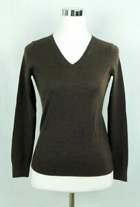 Talbot-039-s-100-Merino-Wool-V-Neck-Pullover-Sweater-Chocolate-Brown-Size-Petite-Sm
