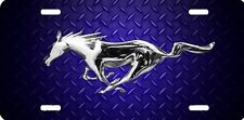 Mustang blue diamond plate look airbrushed car tag  license plate
