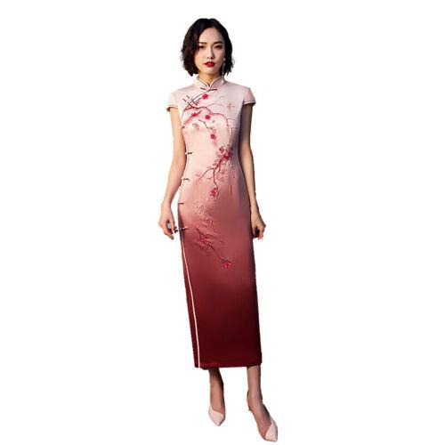 Women Cheongsam Floral Printed Pink Gown Dress Chinese Classic Retro Slim Qipao