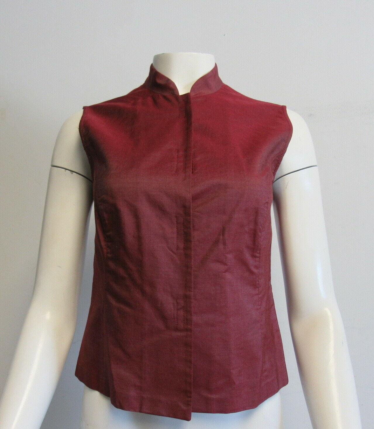 PRADA iridescent maroon sleeveless top SZ 42