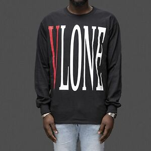 850b4336 Vlone V-Lone stretch logo Long Sleeve T-Shirt as worn by ASAP Rocky ...