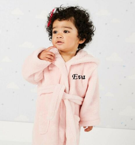 PERSONALISED Baby Hooded Bath Robe Wrap Gown 0-24 Months Boy Girl New Born GIFT