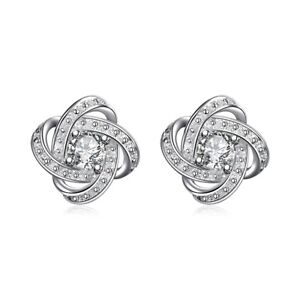 Image Is Loading Womens 18k White Gold Plated Infinity Stud Earrings