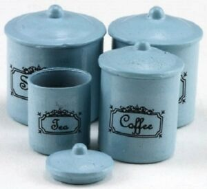 Dollhouse-Miniature-Four-Piece-Canister-Set-in-Blue-1-12-Scale