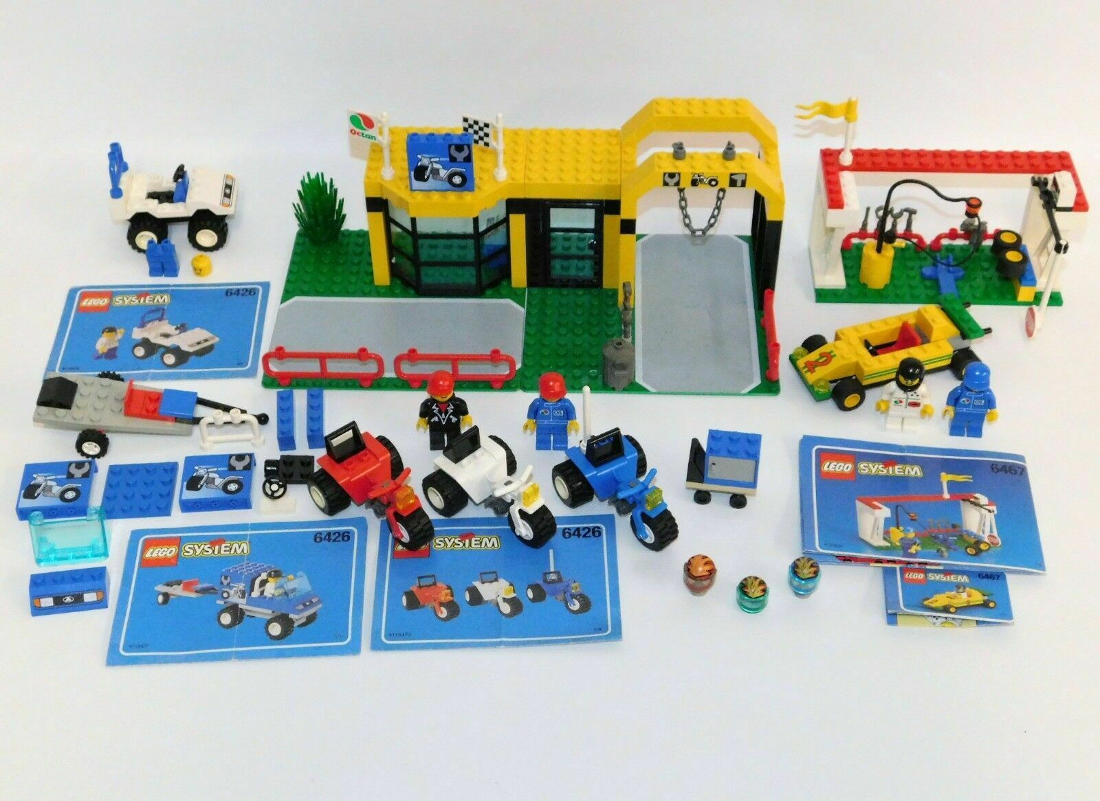 LEGO City Lot Super Cycle Center & 6467 Power Pitstop NOT COMPLETE 1998