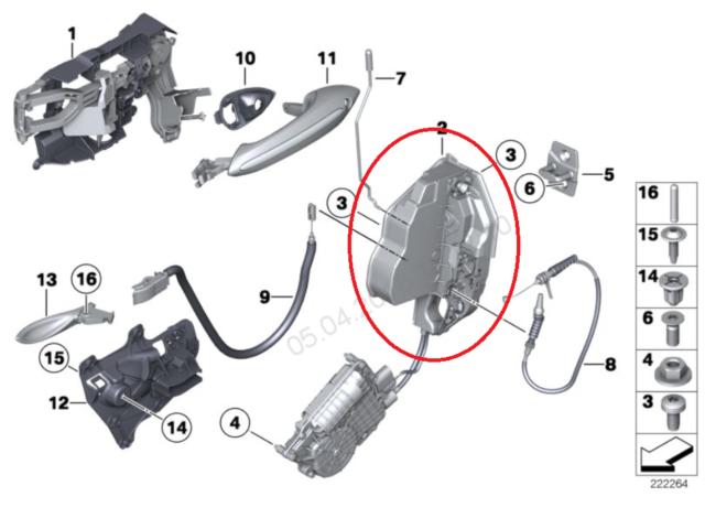 BMW 5 F10 Delantero Derecho Cerradura LHD 7202144 51217202144 2015 Original