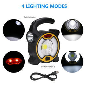 Camping-Hiking-Portable-Tent-Lantern-Flashlight-2in1-Rechargeable-LED-Work-Light
