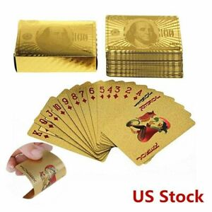NEW 24K GOLD FOIL POKER DECK OF PLAYING CARDS 100.00 DOLLAR BILL ON BACK-STYLISH