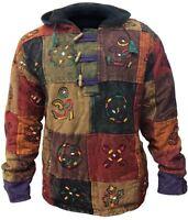 Mens Multicoloured Hippy Gypsy Patchwork Pullover Fleece Hoodie Jumper