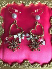 Betsey Johnson Vintage Ski Bunny Lavender Snowflake Crystal Pearl Heart Earrings