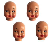 """Lot of 4 Vintage Large 5"""" Celluloid Plastic Craft Doll Making Faces Masks Heads"""