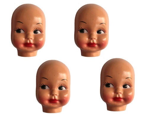 Lot of 4 Vintage Large 5 Celluloid Plastic Craft Doll Making Faces Masks Heads