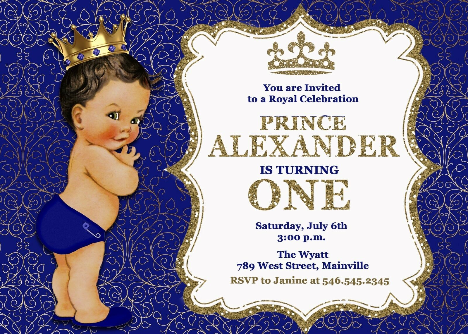 Prince Royal King Blau Gold First Birthday One One One