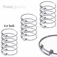 Adjustable Wire Blank Bangle Bracelet For Womens Diy Jewelry Making 15 Pack