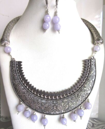 Indian Moonstone Fashion Jewelry Set Bollywood Oxidized Antique Bridal Simulated