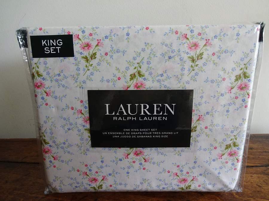 RALPH LAUREN Farmhouse COTTAGE Country FLORAL XDP KING SHEET SET 4PC