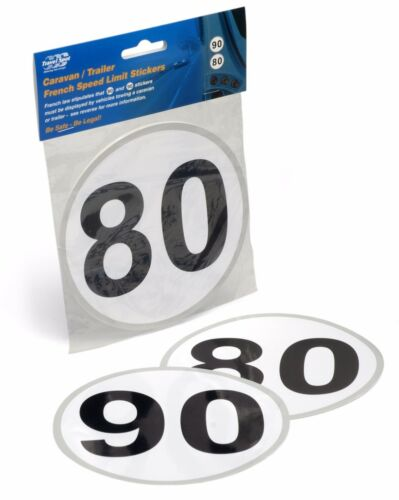 Car Towing Caravan Trailer Motor Home French Speed Limit Stickers 80 90kph
