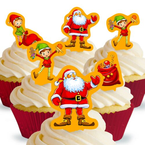Cakeshop 12 x PRE-CUT Santa and Elves Christmas Edible Cake Toppers