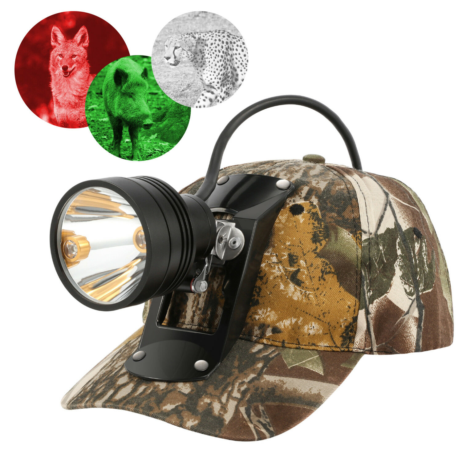 Rechargeable CREE 80000 LUX  LED Coyote Hog Coon Hunting Light & 3 LED Cap Light  high quaity