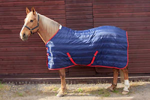 John Whitaker Unisex's Thomas Stable Rug, Navy with Red Binding, 6'3