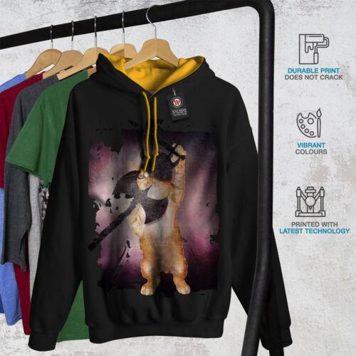 Animal Funny Viking Contraste oro Nuevo capucha Negro Cat Men con Hood d5qIrIw