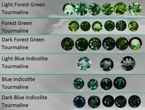 1x-3mm-Forest-Green-Tourmaline-amp-Blue-Indicolite-Round-Loose-Natural-Gemstone