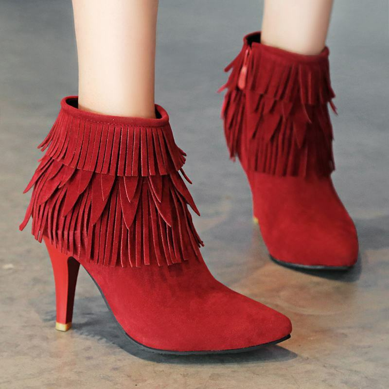 Ladies Kitten Heels Multi Layer Fringe Side Zip Pointy Toe Ankle Boots New shoes