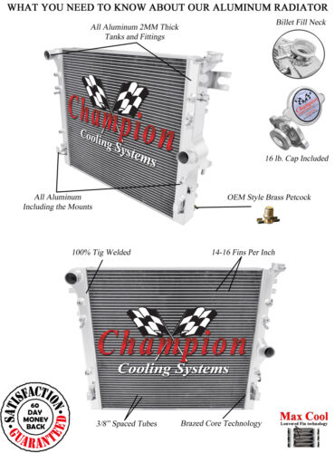 2 Row Performance Champion Radiator for 2007 2008 2009 Jeep Wrangler V6 Engine