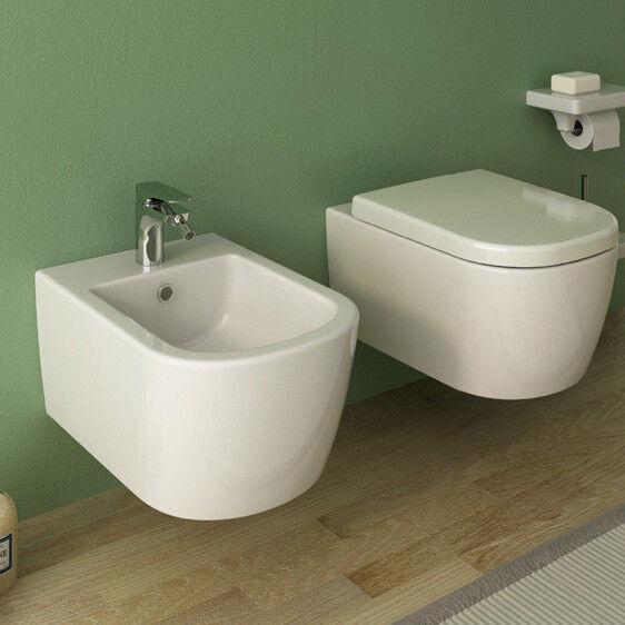 Coppia di Sanitari Vaso + Bidet Sospesi design Faster in Ceramica blanc