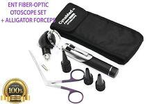 Ent Fiberoptic Otoscope Set Set Kit 1 Bulb1 Alligator Forceps 10 Specula Blk