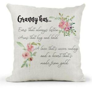 Nanny Grandma Cushion 40cm x 40cm Country Canvas Gift Gran Personalised Nan