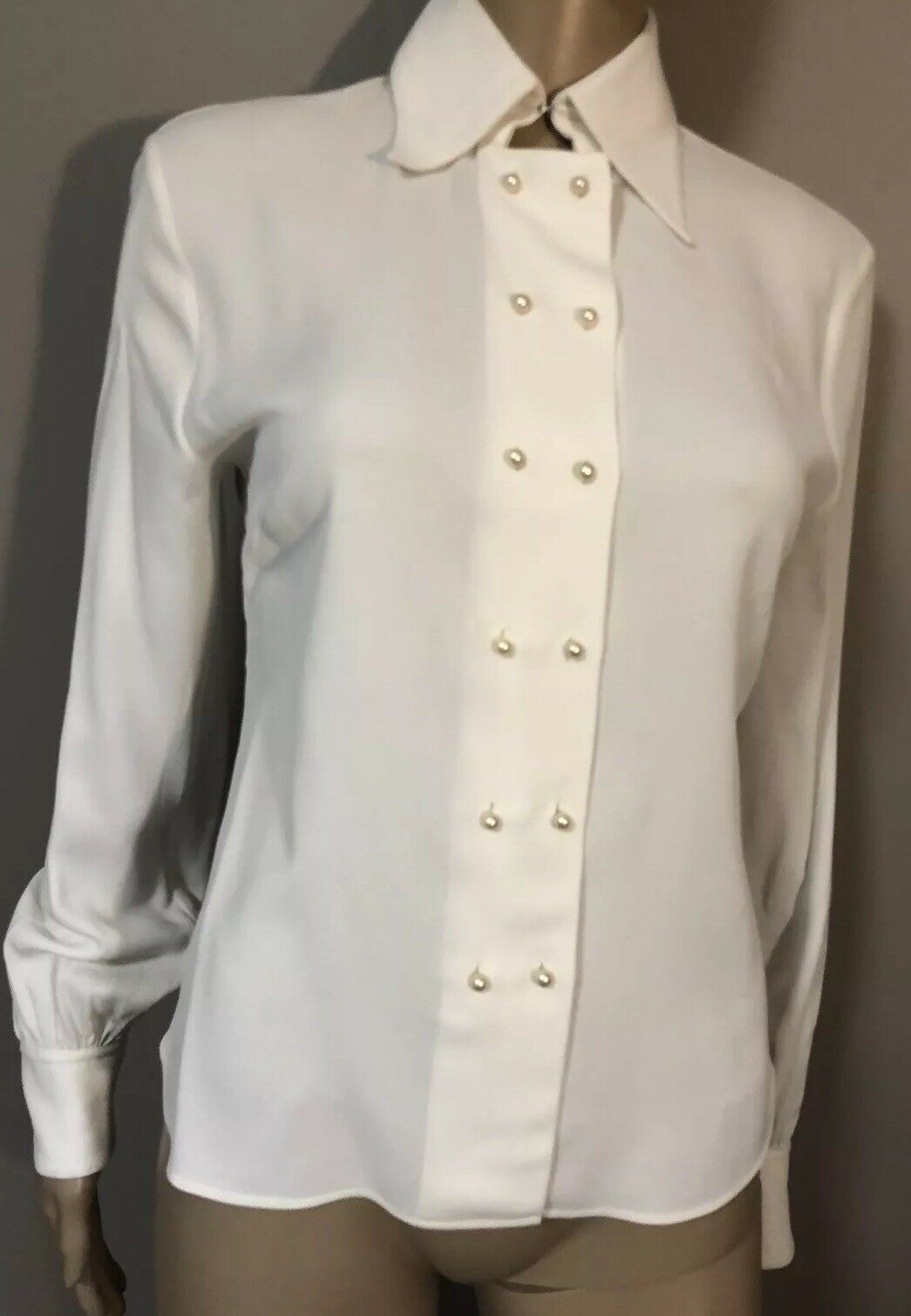 Weiß Double Breasted Blouse with Pearl buttons by Celine sz FR  36 US 4