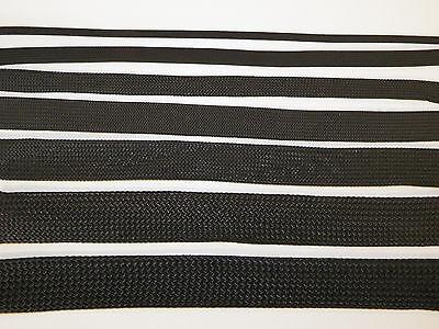 NYMAX  PREMIUM BLACK BRAIDED EXPANDABLE FLEX SLEEVE WIRING LOOM FLEXABLE