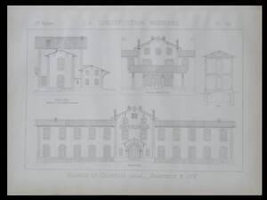 MONTLUCON, HOSPICE DE COURTRAIS - 1889 - 2 PLANCHES ARCHITECTURE - VIEE