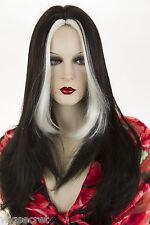 Ash Black Streak White Blonde Blonde Long Skin Top Straight Wigs