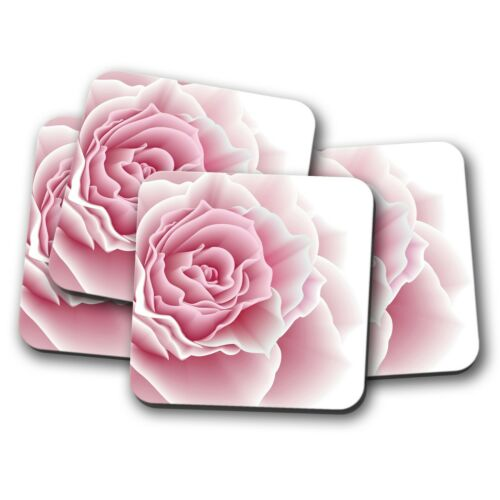 Flower Garden Love Wedding Cute Gift #15593 Pretty Pink Rose Coaster 4 Set