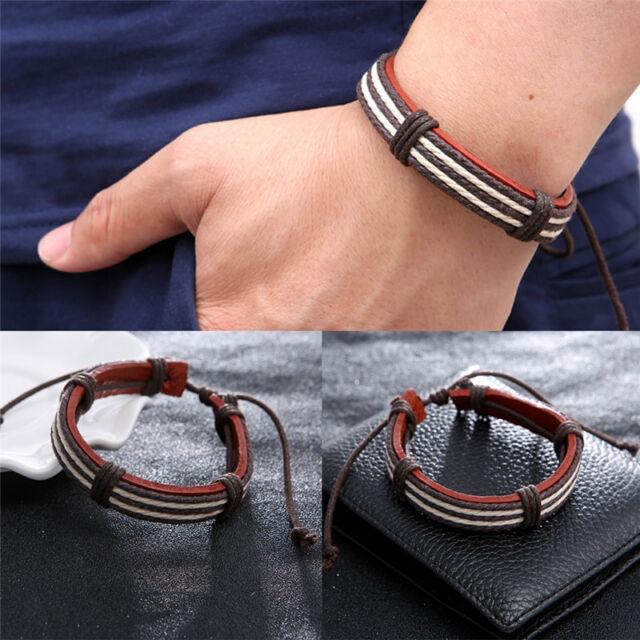 Hot Sale Male Fashion Bracelet Five Wax Ropes Handmade Brown Leather Bracelet、AU