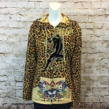 Ed Hardy Christian Audigier Womens Large Jacket Hoodie Sweatshirt Gold Leopard