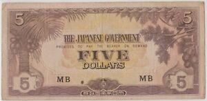 Mazuma *M1280 Malaya Japanese WWII JIM 1942 $5 MB VF