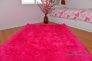 Hot Pink Mongolian Faux Fur Throws Area Rugs Accents Decors Nursery Rug